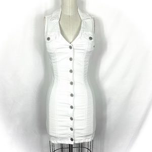Guess NWT white fitted denim dress